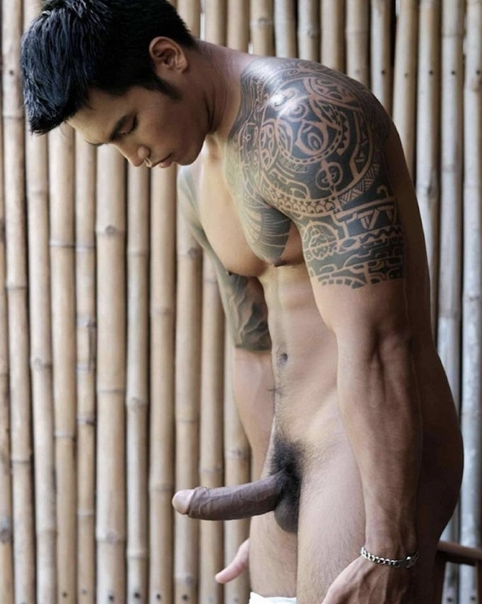 Asian stud with a boner