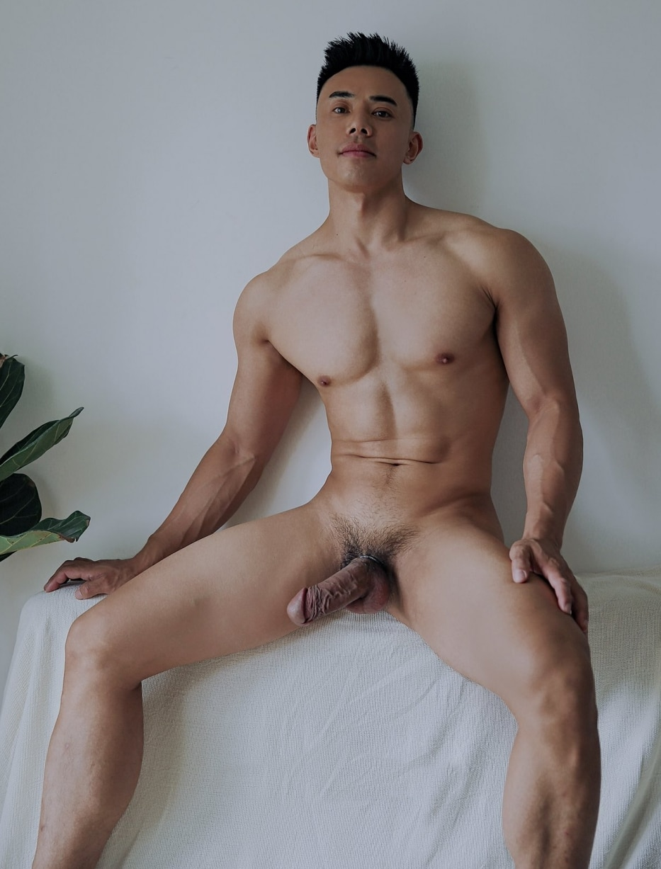 Asian stud with a hard cock