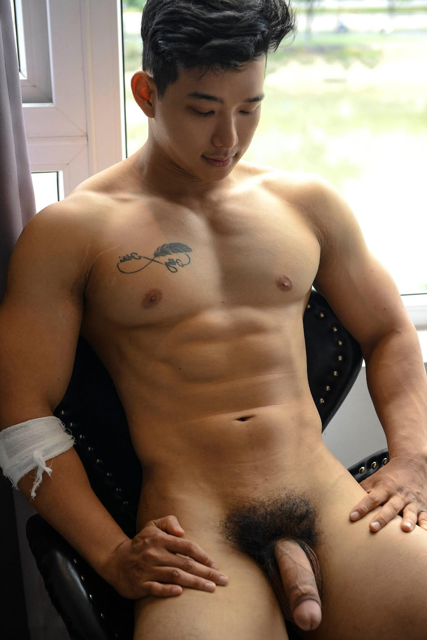 Beefy Asian with a hairy cock