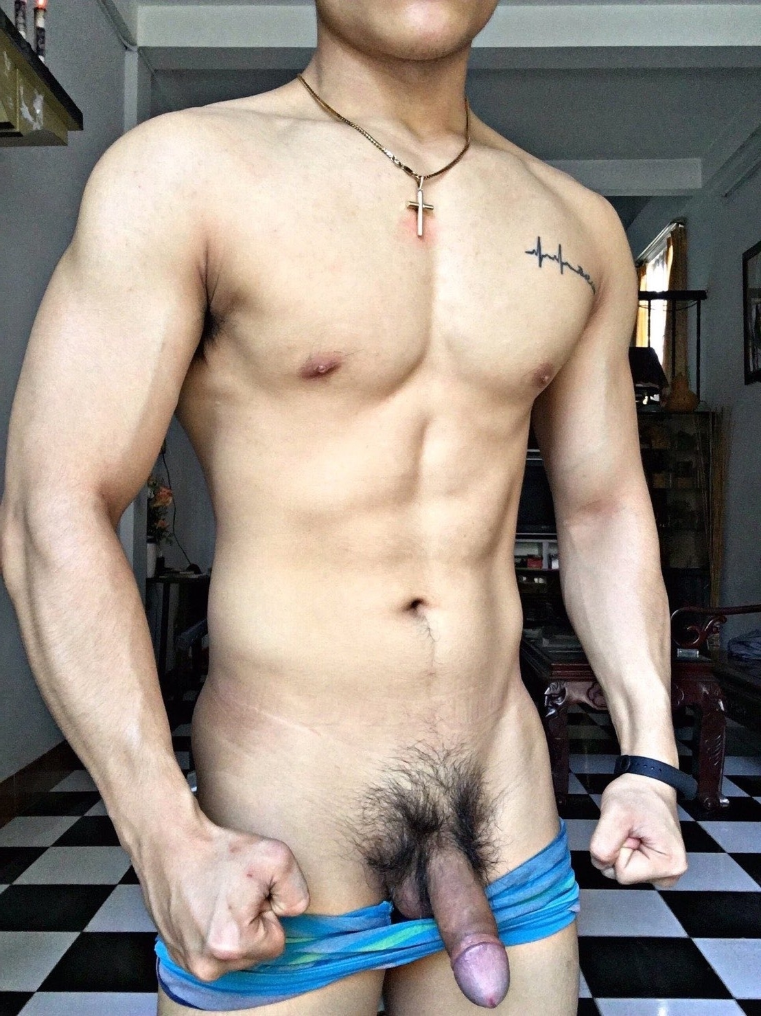 Fit guy with a hairy cock