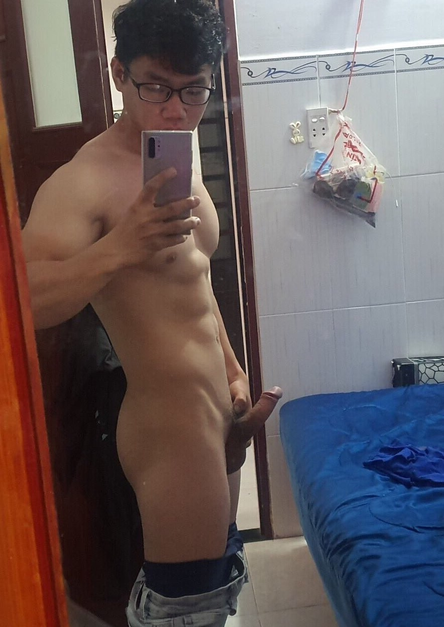 Hard cock in the mirror