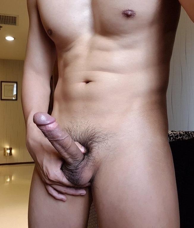 Hunk showing hard cock