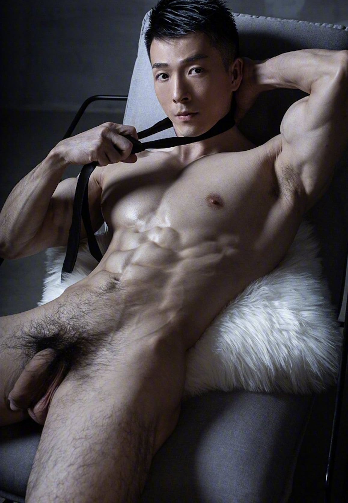 Hunk with a hairy cock