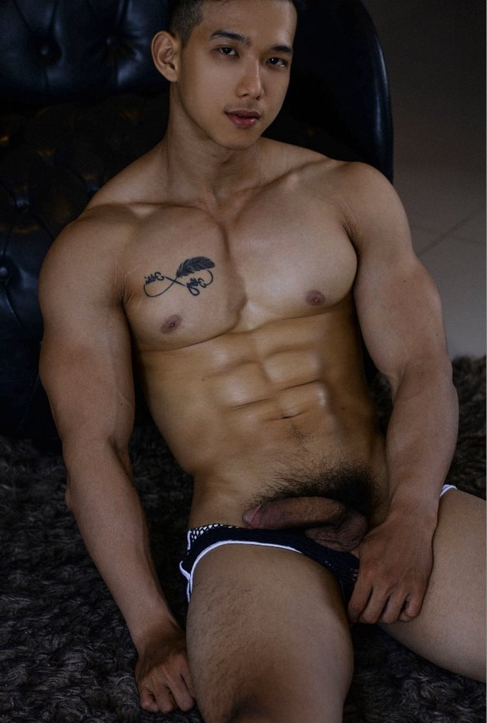 Muscle boy with his cock out