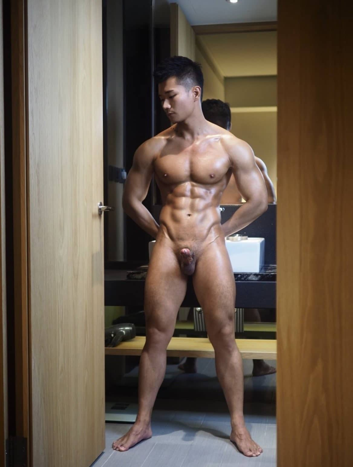 Muscular body and hard cock