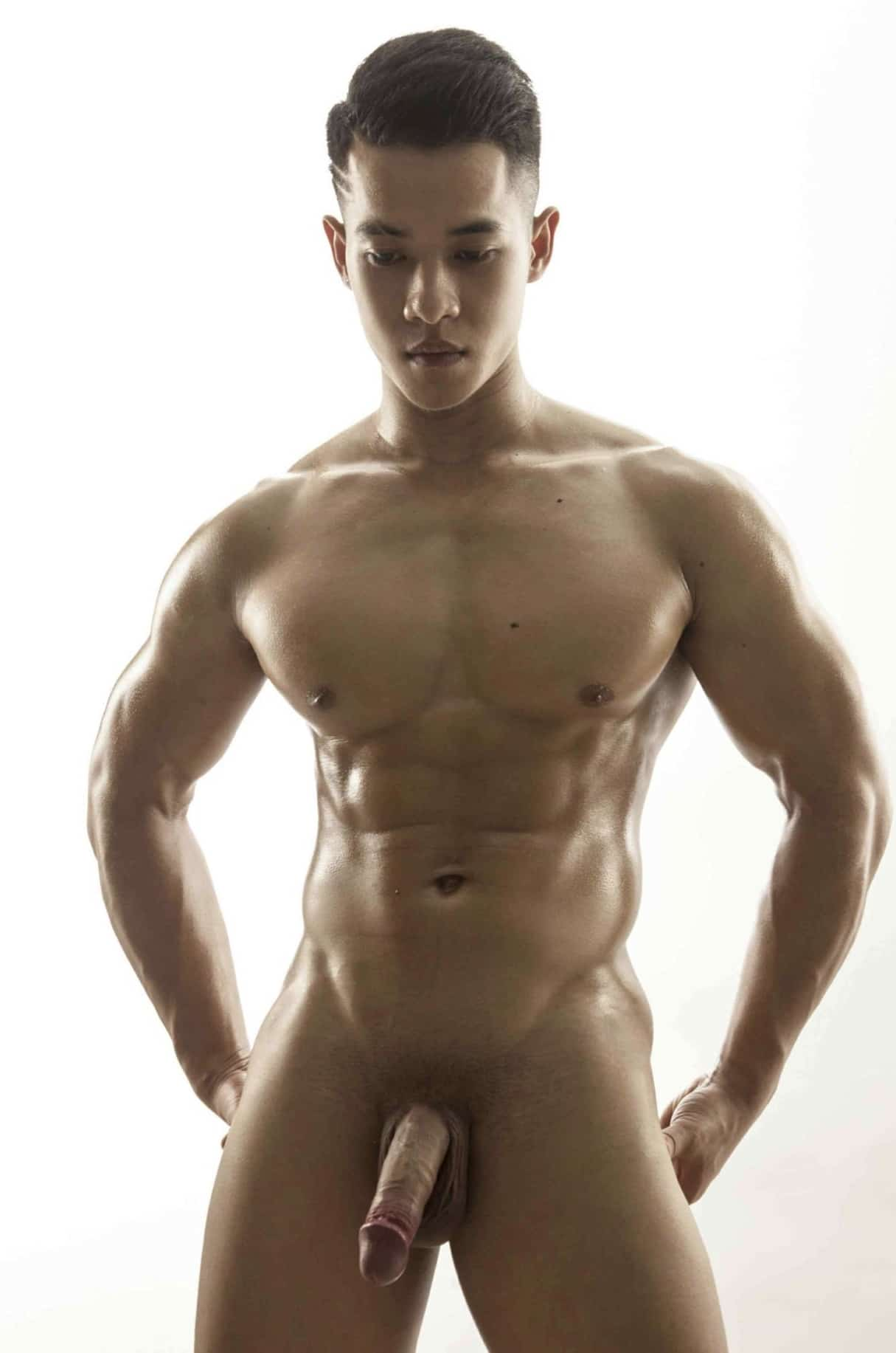 Muscular nude Asian boy