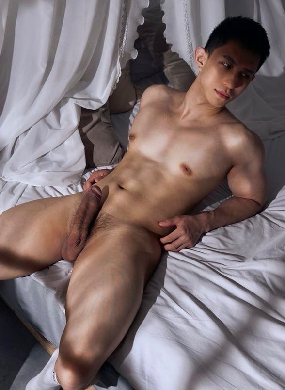 Nude Asian stud with a big cock