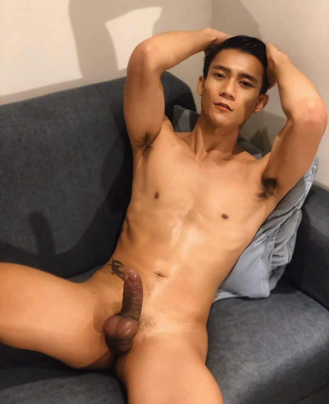 Shaved balls and hard cock