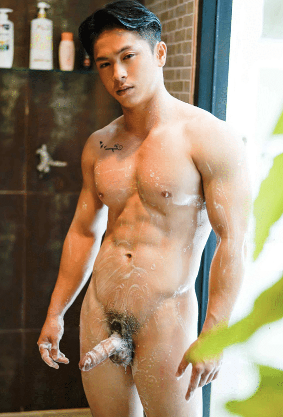 Soaped up nude stud