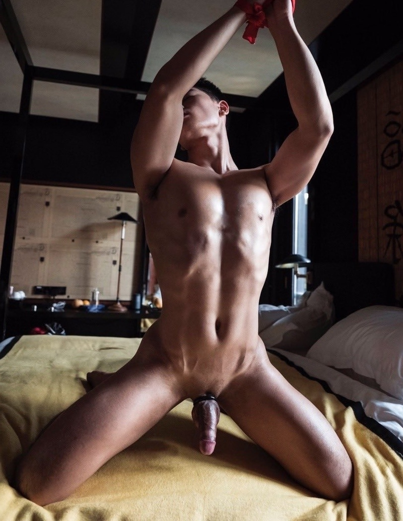 Stud wearing a cock ring